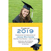 Yellow Congrats Grad Custom Photo Announcement