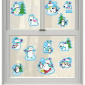 Joyful Snowman Vinyl Window Decorations 12ct