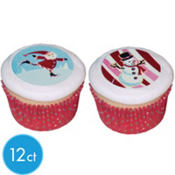 Holiday Cheer Sugar Cupcake Stickers 12ct