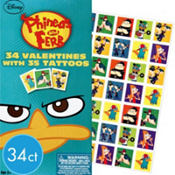 Phineas and Ferb Valentines Day Cards with Tattoos 34ct
