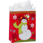 Large Glitter Happy Snowman Gift Bags 12 1/4in 8ct
