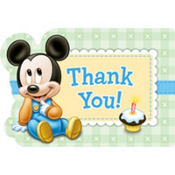 Mickey Mouse 1st Birthday Thank You Postcards 8ct