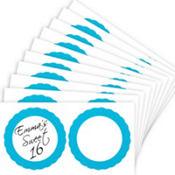 Caribbean Blue Favor Sticker Labels 20ct