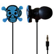 Blue Skull and Crossbones Earbuds