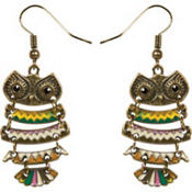 Enamel Owl Earrings