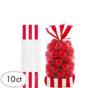 Red Striped Favor Bags 10ct
