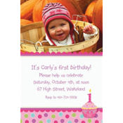Sweet Little Cupcake Girl Custom Photo Invitation