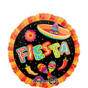 Foil Red and Orange Fiesta Balloon 18in