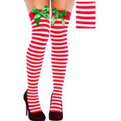 Adult Christmas Thigh High Stockings with Bows