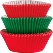 Green & Red Baking Cups 75ct