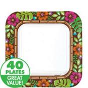 Summer Luau Paper Square Dessert Plates 40ct