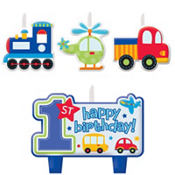 All Aboard 1st Birthday Candles 4ct