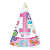 Sweet Girl 1st Birthday Party Hats 8ct