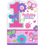 Sweet Girl 1st Birthday Invitations 8ct