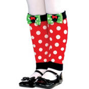 Child Holiday Minnie Mouse Leg Warmers