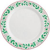 Christmas Holly Premium Plastic Dinner Plates 10ct
