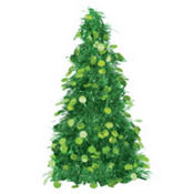 3D Green Tinsel Christmas Tree