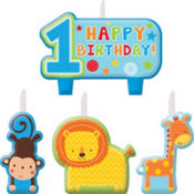 Wild at One Boy's 1st Birthday Candles 4pc