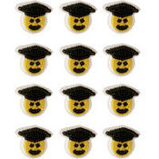 Smiley Face Graduation Icing Decorations 12ct