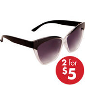 Black & Clear Horn-Rimmed Sunglasses