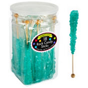 Robin's Egg Blue Rock Candy Sticks 18pc