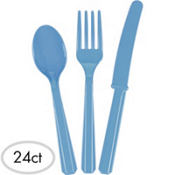 Pastel Blue Plastic Cutlery Set 24ct