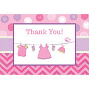 Girl Baby Shower Thank You Notes 8ct - Shower With Love