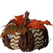 Chevron Burlap Twig Pumpkin