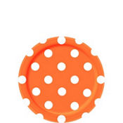 Orange Polka Dot Dessert Plates 8ct