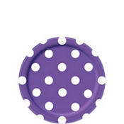 Purple Polka Dot Dessert Plates 8ct