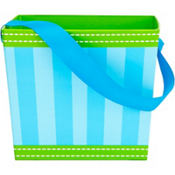 Blue Striped Square Easter Basket