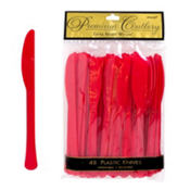 Red Premium Plastic Knives 48ct