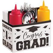 White Graduation Paper Utensil Caddy - Congrats Grad