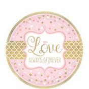 Sparkling Pink Wedding Dessert Plates 8ct