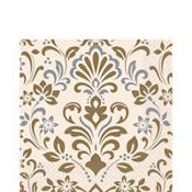 Silver & Gold Damask Lunch Napkins 16ct