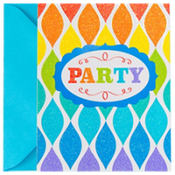 Glitter Rainbow Twist Invitations 8ct