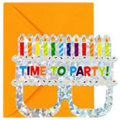 Prismatic Cake Glasses Invitations 8ct