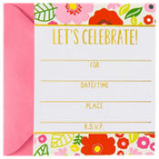 Metallic Coral Floral Invitations 8ct