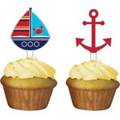 Ahoy Nautical Cupcake Picks 12ct