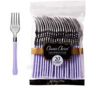 Classic Silver & Lavender Premium Plastic Forks 20ct