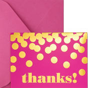 Metallic Dots Pink Thank You Notes 8ct