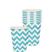 Caribbean Blue Chevron Paper Cups 8ct