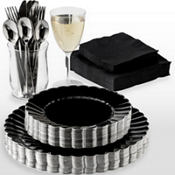 Black Premium Scalloped Tableware