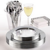 CLEAR Silver Border Premium Tableware