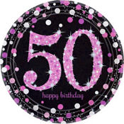 Pink Sparkling Celebration 50th Birthday Party Supplies