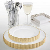 White Gold Trimmed Scalloped Premium Tableware