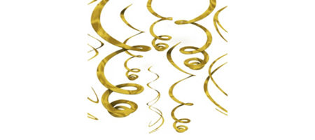 Gold decorations gold balloons banners confetti for Paper swirl decorations