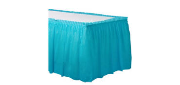 Caribbean Blue Plastic Table Skirt