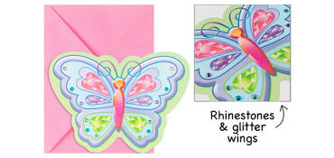 Premium Glitter Fluttering Butterfly Invitations 8ct