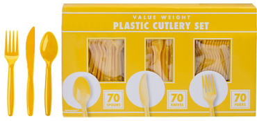 Sunshine Yellow Cutlery Set 210pc